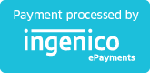 Blue button that reads 'Payment processed by Ingenico